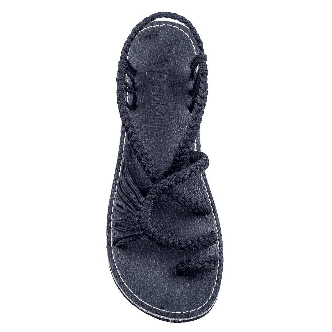 Plaka Black Sandals for Women Size 9 Palm Leaf