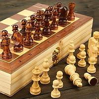 "Akshu 11""X11"" Wooden Folding Chess Set,Handmade Game Board Interior for Storage for Adult Kids Beginner Chess Board"