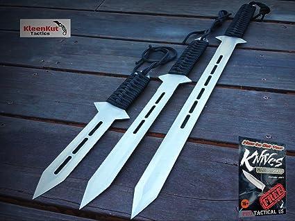 NEW 3 Pc SILVER Blade Sword SET NINJA Katana Full Tang Knife ...