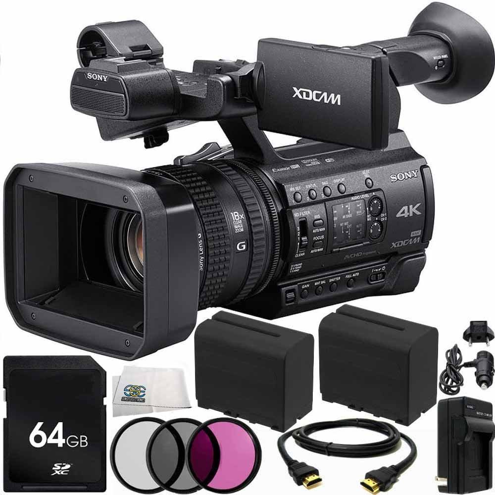 Sony PXW-Z150 4K XDCAM Camcorder 64GB Bundle 11PC Accessory Kit. Includes 64GB SD Memory Card + 2 Replacement F970 Batteries + AC/DC Rapid Home & Travel Charger + MORE