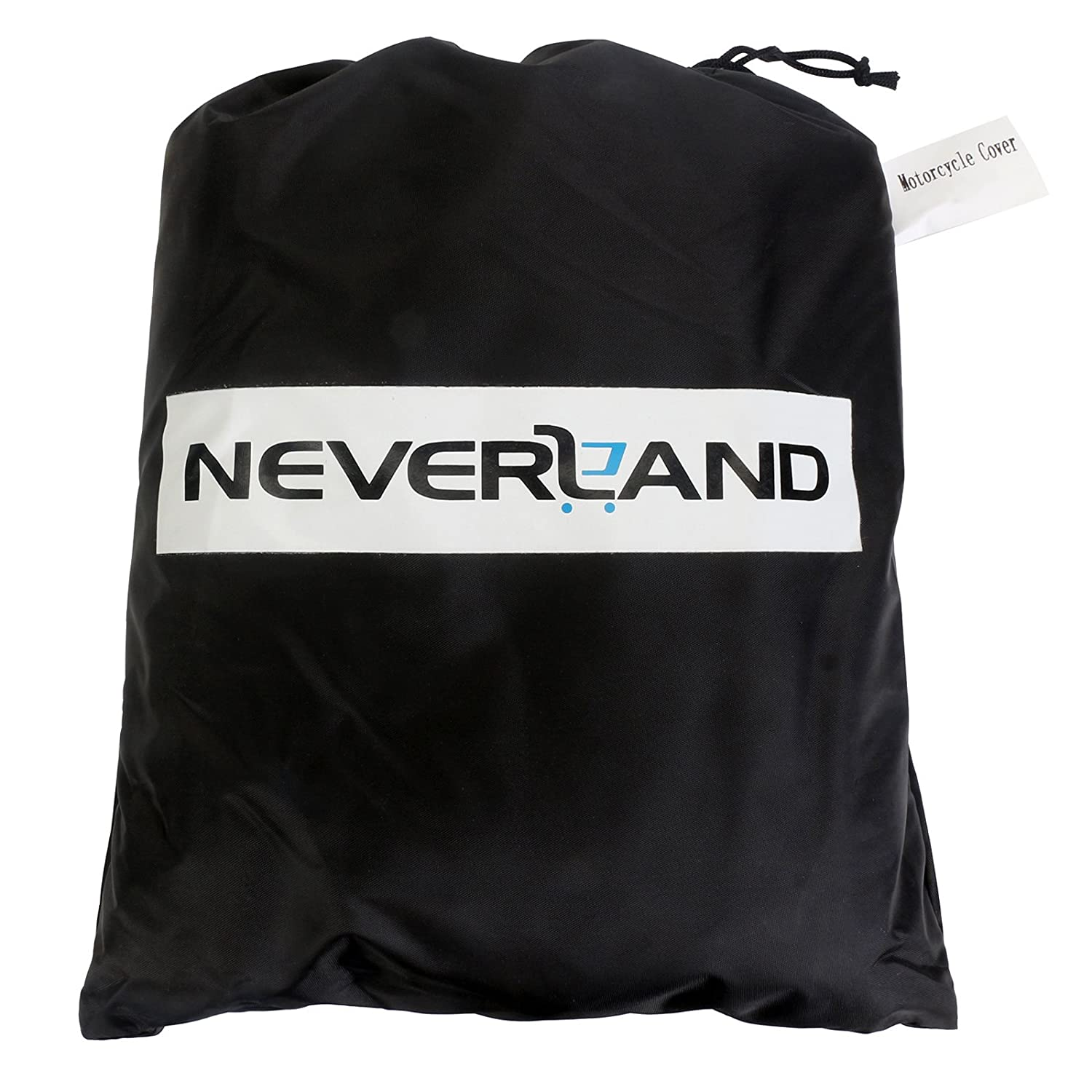 NEVERLAND Motorcycle Cover,Indoor Waterproof UV Dust Protector Cover,2 Stainless Steel Lock-Holes Fits 71to 82Off-Road,Scooter,Trail,Street Black/&Silver