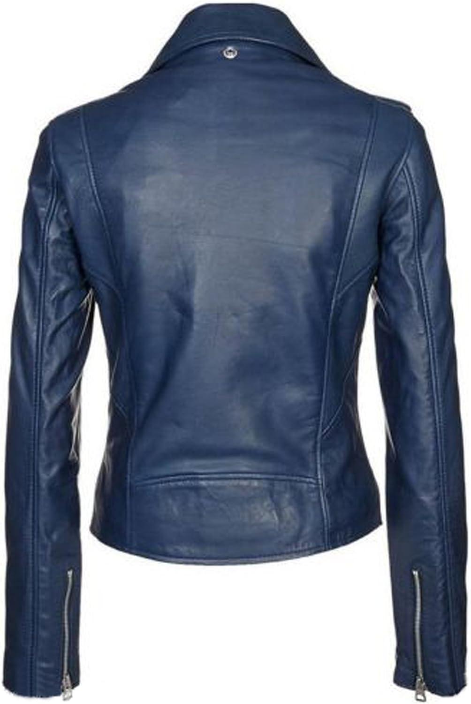 New Women Motorcycle Lambskin Leather Jacket Coat Size XS S M L XL LFWN537