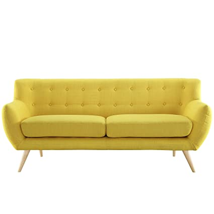 Amazon.com: Modway Remark Mid Century Modern Sofa With Upholstered Fabric  In Sunny: Kitchen U0026 Dining
