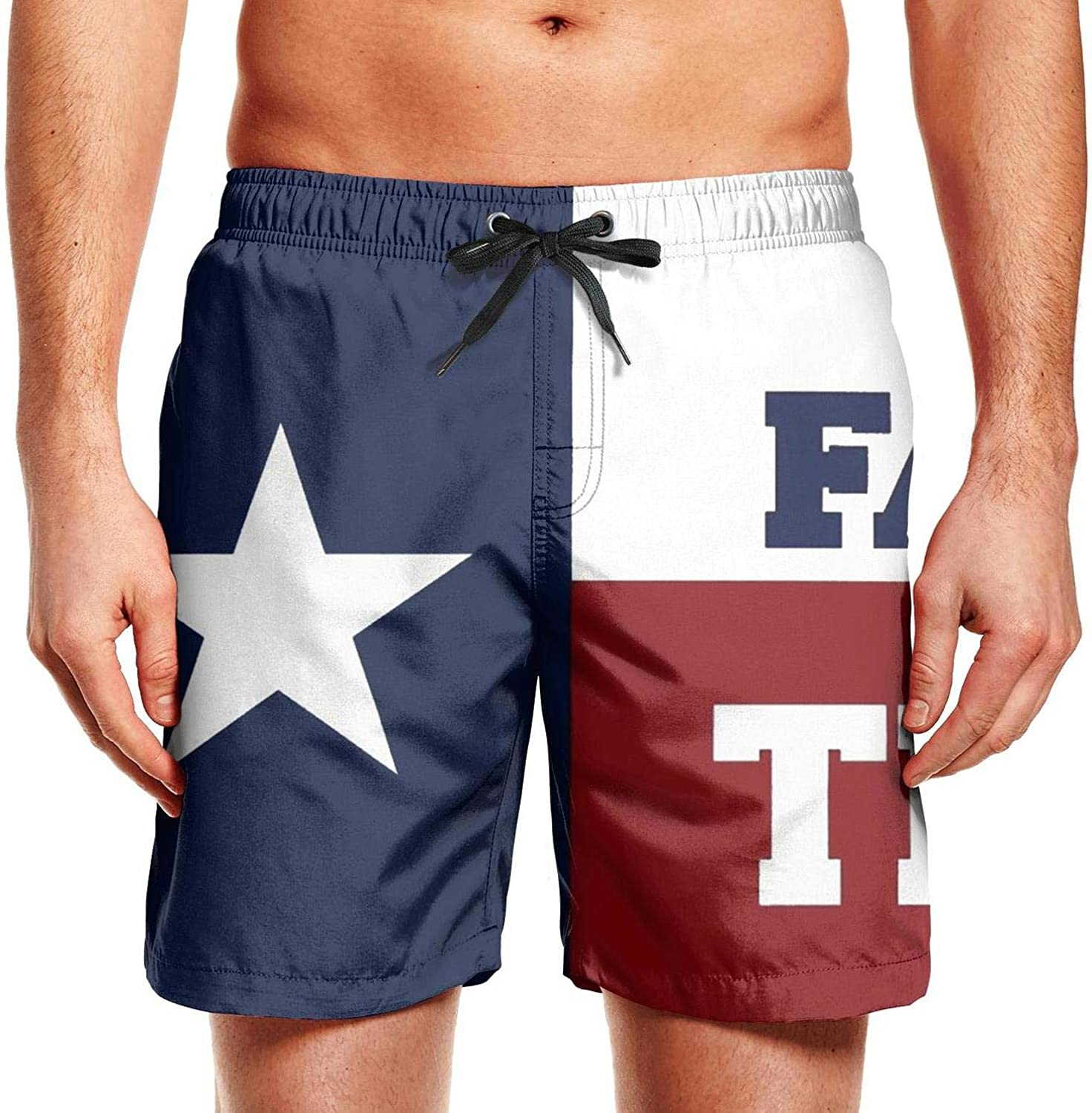 Man American Texas Night View Graphic Polyester Quick Dry Fishing Swim Shorts