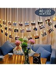 Tomshine Foto Clip Stringa di Luce 40 LED Alimentato a Batteria 5m/16.4 ft per il Soggiorno Camera da Letto Partito