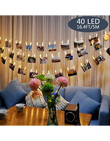 e944bfa6ede Photo Lights Pegs and String 40 Led Fairy Lights Clips Indoor Battery  Powered, Hanging Photo