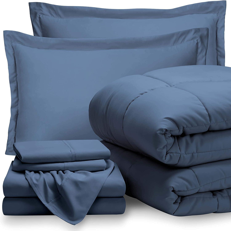 Bare Home Queen Sheet Set - 1800 Ultra-Soft Microfiber Bed Sheets (Queen, Coronet Blue) + Comforter Set - All Season (Queen, Coronet Blue)