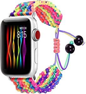Bandmax Rainbow LGBT Band Compatible for Apple Watch 42MM 44MM,Colorful Rope iWatch Series 5/4/3/2/1 Nylon Wristband Accessories Handmade Weave Straps Bohemia Braided Bracelet with Drawstring Clasp