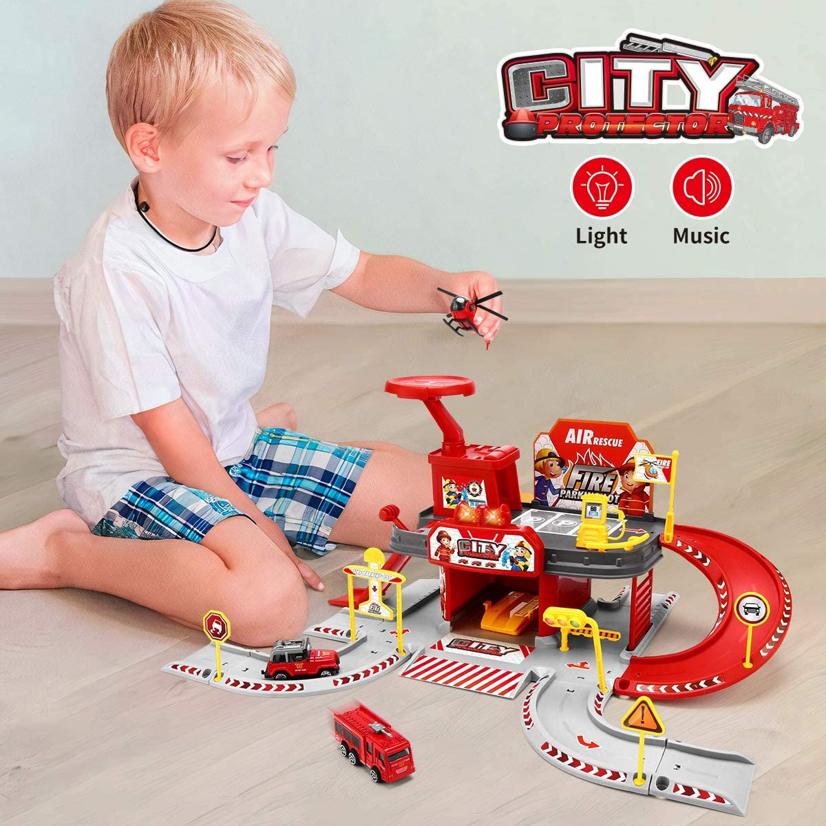 Parent-child Toys for 3-6 Years Old Kids Education Fire Station Building Toy Building Kit Toy with Colorful Lights /& Cool Sound Play Set for Boys Girls 51PCS Building Set with Alloy Vehicle