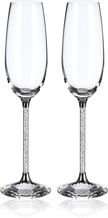 Swarovski Crystalline Toasting Flutes Figurines Set Of 2 Home Kitchen Amazon Com