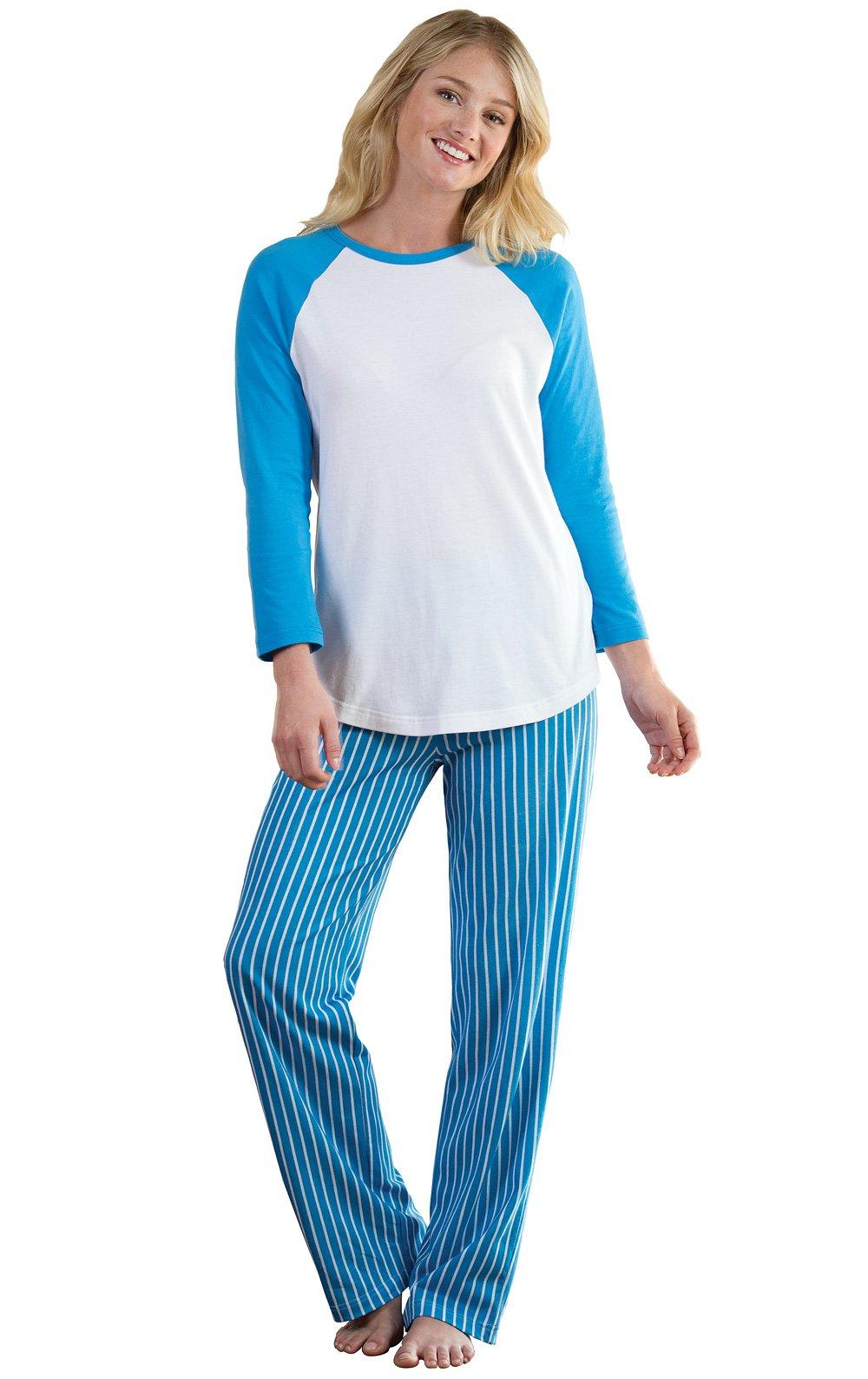PajamaGram Women's Blue Cotton Pajamas with Raglan Style Top, Blue, XSM (2-4)
