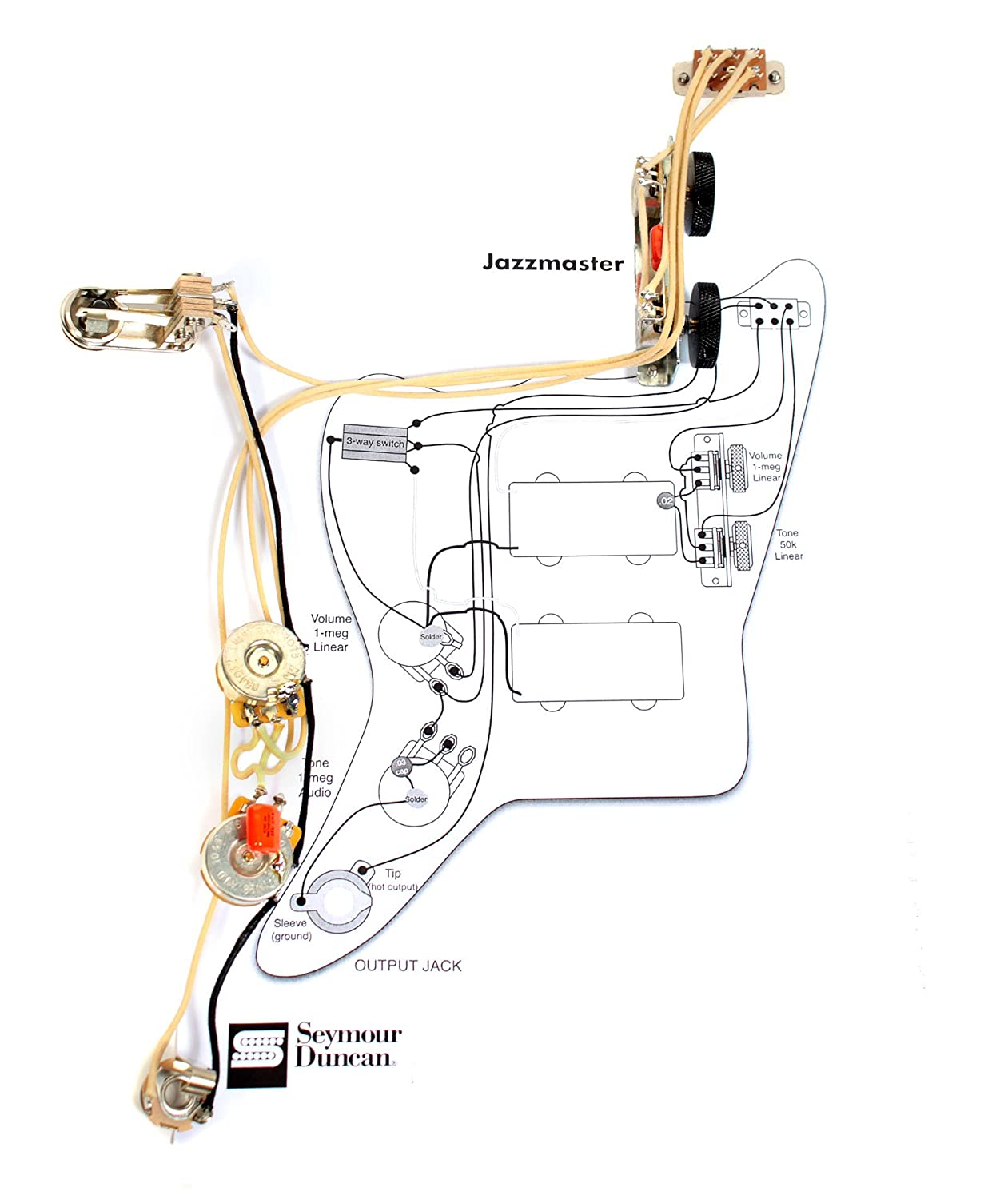 amazon com: fender vintage traditional jazzmaster guitar pre-wired wiring  harness: musical instruments