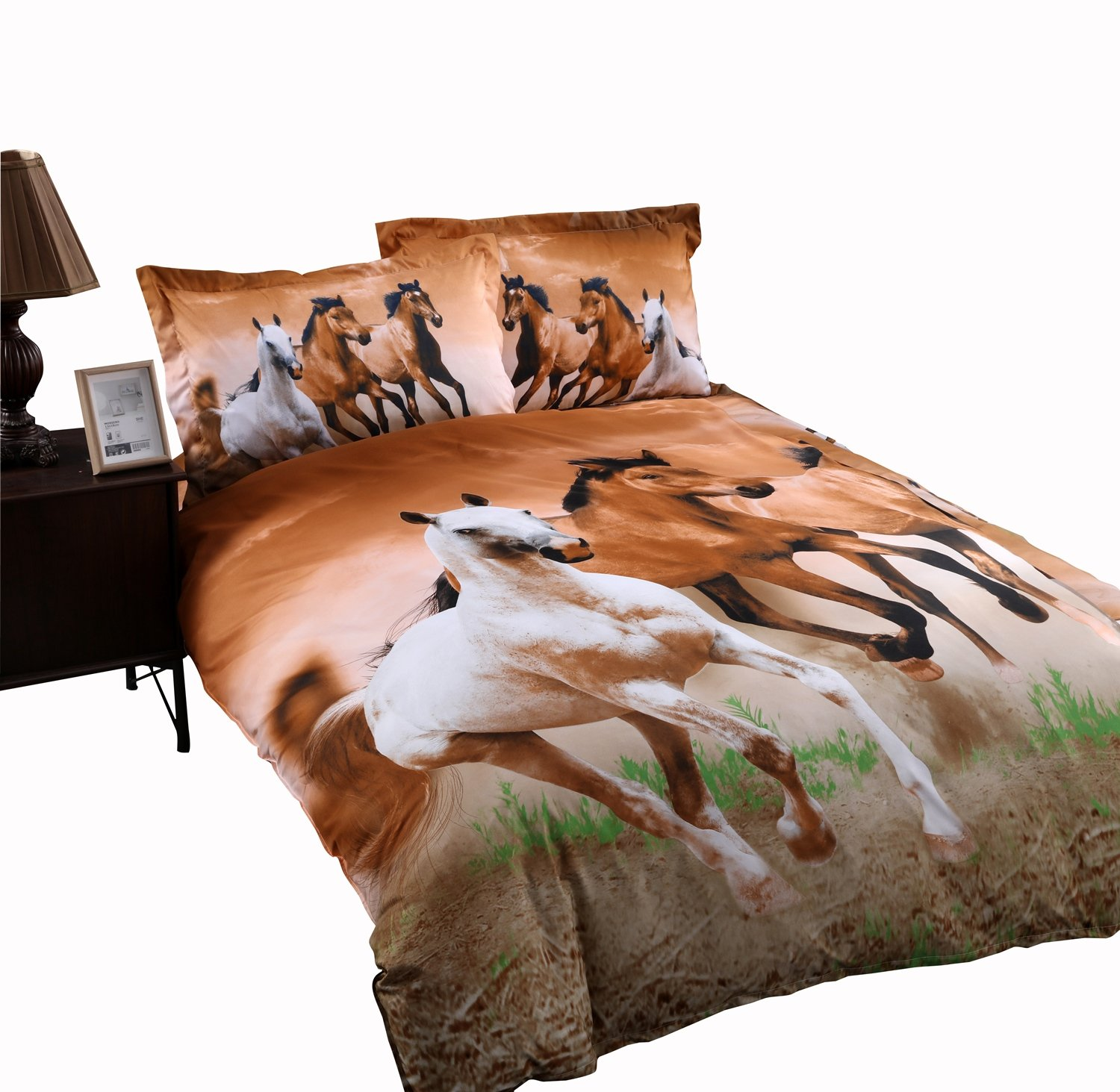Wowelife Horse Bedding Sets Kids Bedding Sets Twin Size 4 Pieces with Duvet Cover, Flat Sheet, and 2 Pillow Cases(Comforter Not Included)