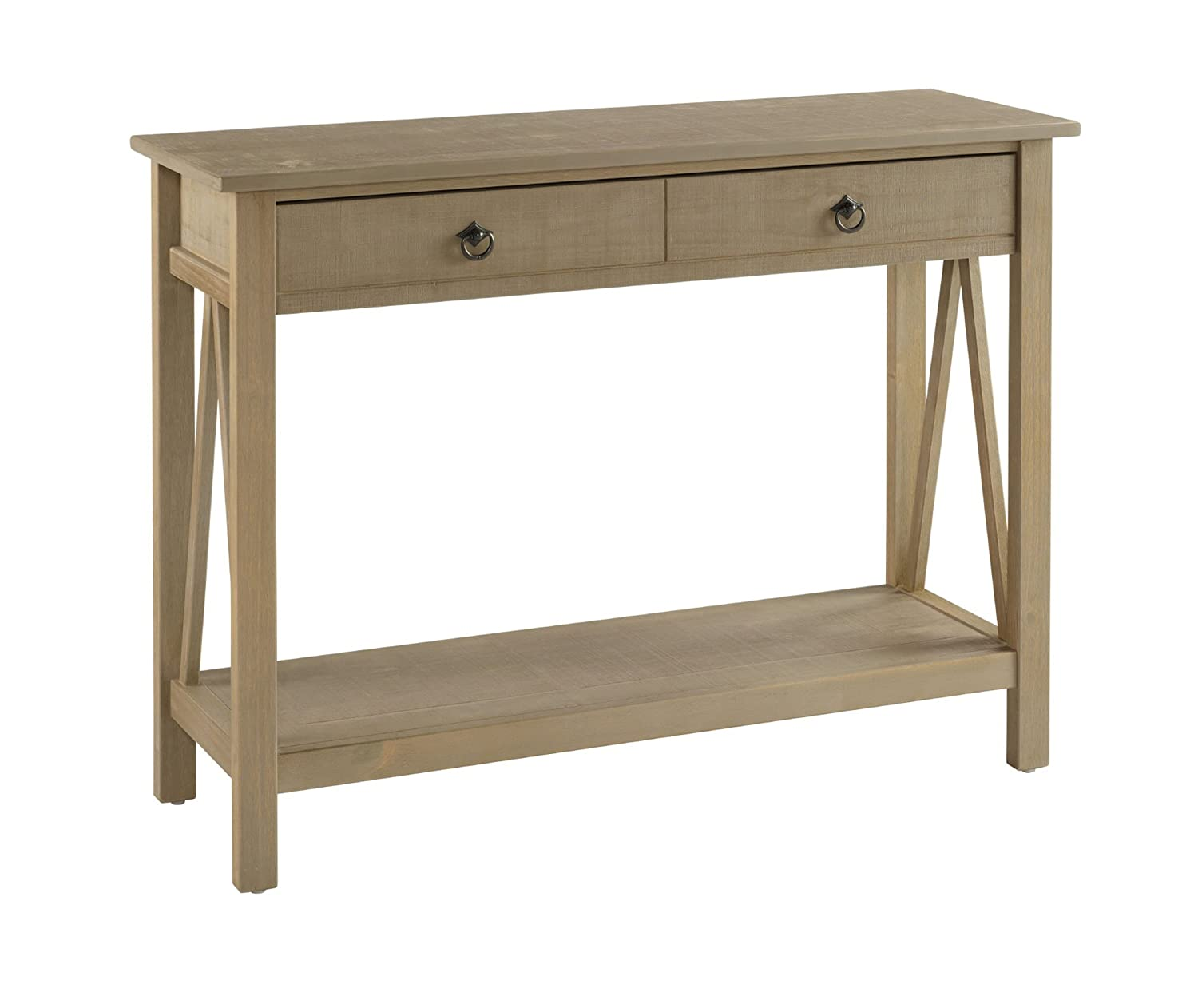 Amazon linon titian rustic gray console table kitchen dining geotapseo Choice Image