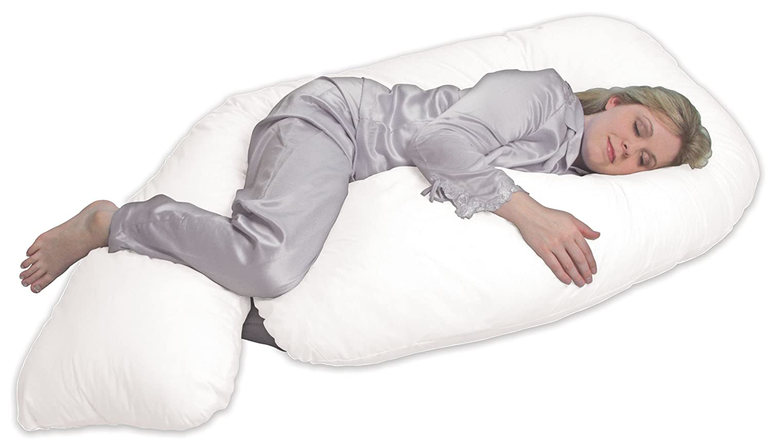 Related image, woman using a Leachco All Nighter body pillow