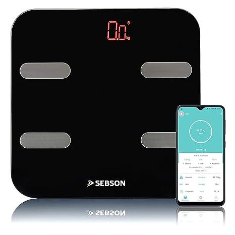 SEBSON Báscula de Grasa Corporal Bluetooth con App, digital bascula baño analisis corporal (11 valores) - peso, grasa, agua, muscular, IMC, etc - ...