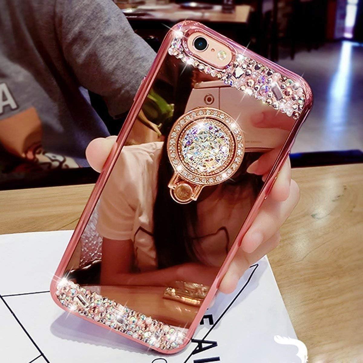 Yobby Miroir Coque pour Samsung Galaxy A70,Etui Samsung Galaxy A70 Or Glitter Paillette Brillante Cristal Housse avec 360 Rotation Bague Anneau Diamant Strass Kickstand