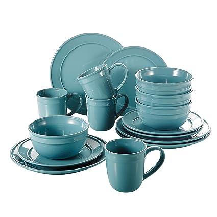 vancasso Noah Vajillas de Porcelana, Juegos de Vajilla de 16 Piezas (Tazas de Desayuno, 2 Tamaños Platos y Cuencos de Cereales) para 4 Personas, Azul