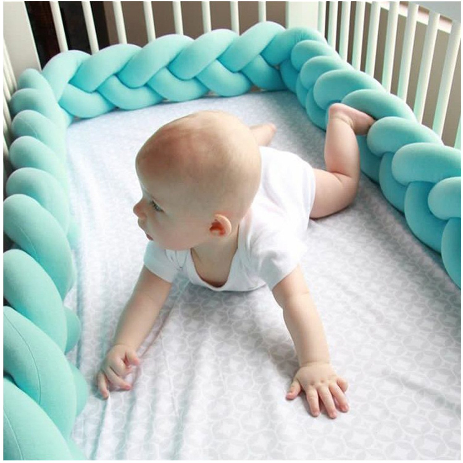 Mai Poetry Baby Crib Bumper Knotted Braided Plush Nursery Cradle Decor Newborn Gift Pillow Cushion Junior Bed Sleep Bumper (3M, Blue)