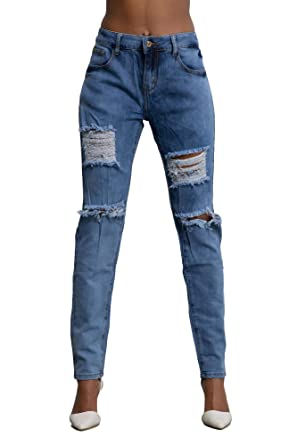 3ff344ca Le Lys Womens Blue Ripped Denim Slim Fit Jeans Stretchy Distroyed Pants  Plus Size 14-22 (14, Blue): Amazon.co.uk: Clothing