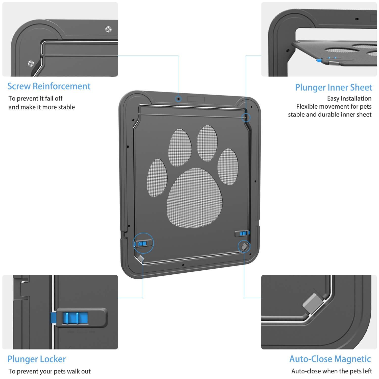 Dog Screen Door Pet Cat Protector F Sliding Door Automatic Lock