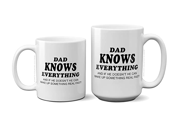 89b51a9b5e2e5 Personalized Custom Coffee Mug - PAPA Knows Everything And if he doesn't he  can make up something real fast, Grandpa, Dad, Brother, Uncle & more -. ...