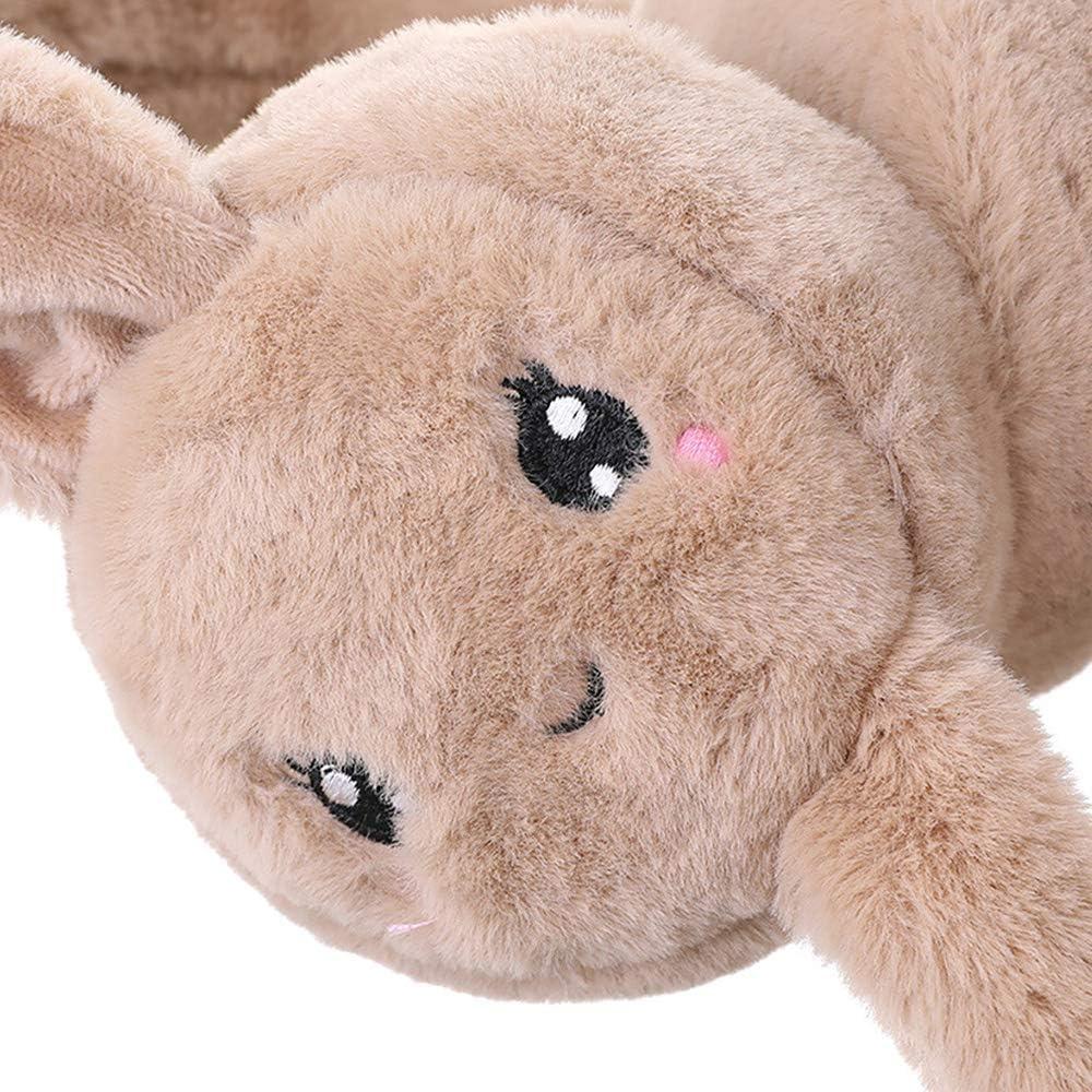 Faux Fur Bunny Earmuff Scarf Soft Plush Winter Ear Warmers Movement Ear Muff with Gasbag for Girls Kids Women