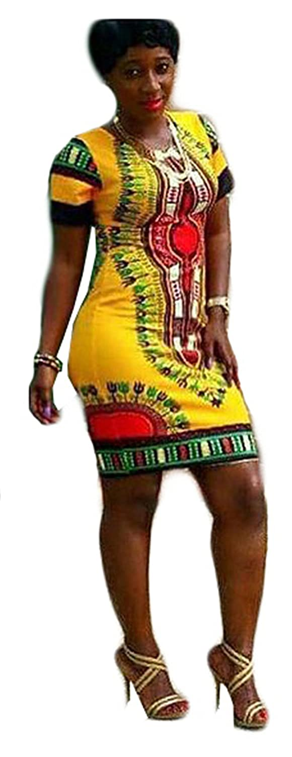 Womens Sexy Crew Neck Short Sleeve Folk-custom Printing Package Hip Dress