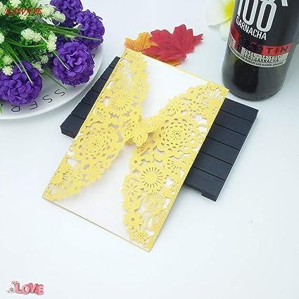 Amazon.com : CHITOP 10 pcs laser cut flowers and butterflies ...