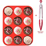 Rcool 12 Cup Silicone Muffin Pan Cupcake Baking Pan Non Stick Dishwasher Microwave Oven Safe Tray Cooking Tool Mould