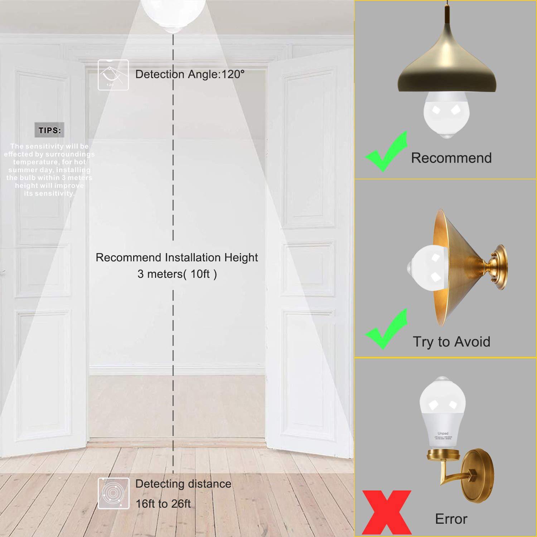 2 Pack Motion Sensor Light Bulb,UNPAD 12W E26 Cold White 6000K 1100 Lumens PIR LED Smart Motion Detector Bulbs Auto On//Off for Front Door Porch Garage