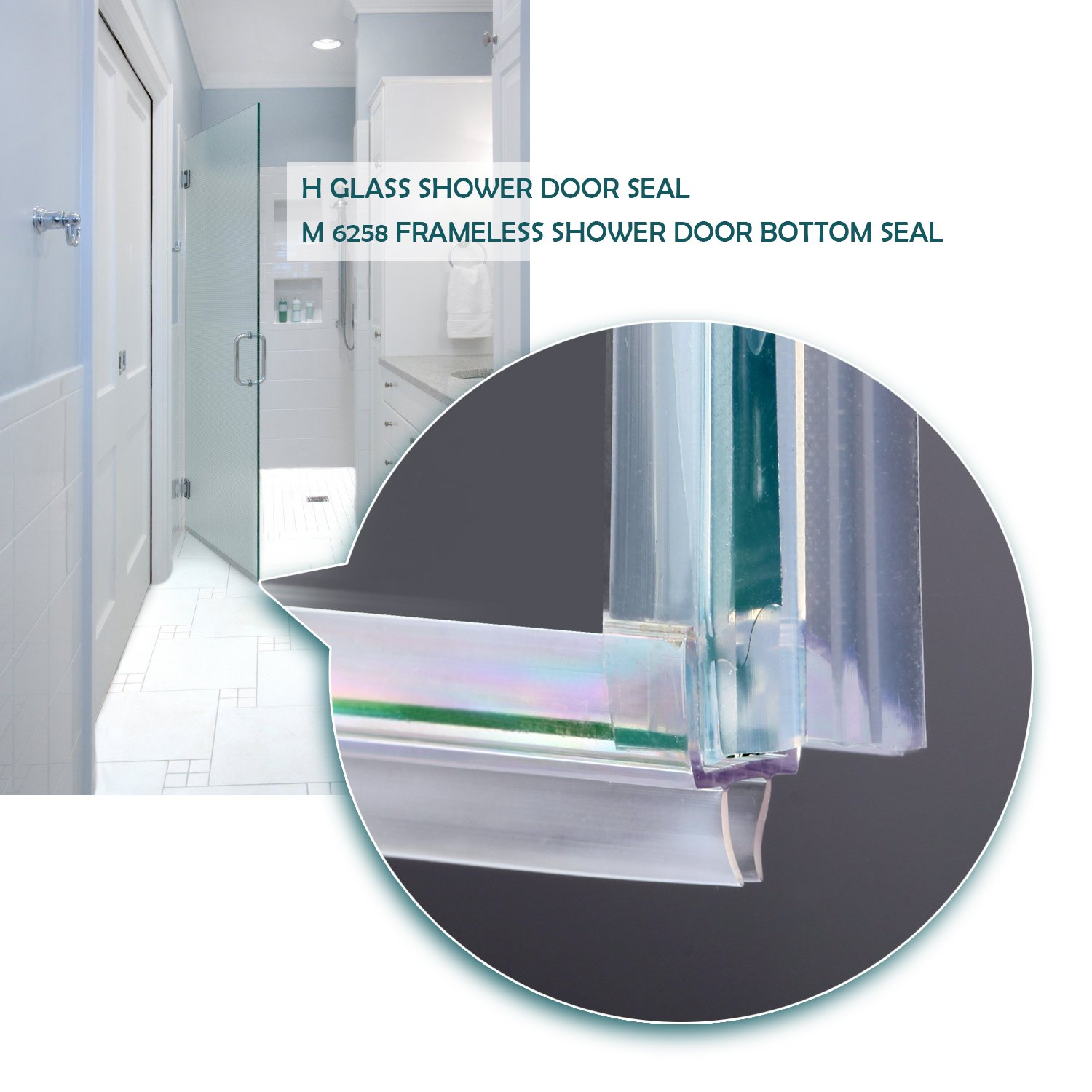 Shower Door Sweep, Frameless Glass Shower Weather Stripping for Door Bottom-36 Inch Length M-3/8 inch + 72 Inch Length H-3/8 inch (3/8 inch(10mm), M+h-Type) by MAGZO (Image #6)