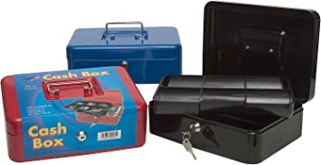Safe Petty Cash Tin Lock Money Box Black Cash Box Portable Metal Secure Cash Storage Boxes Money Tin with Two Keys /& Removable Coin Tray