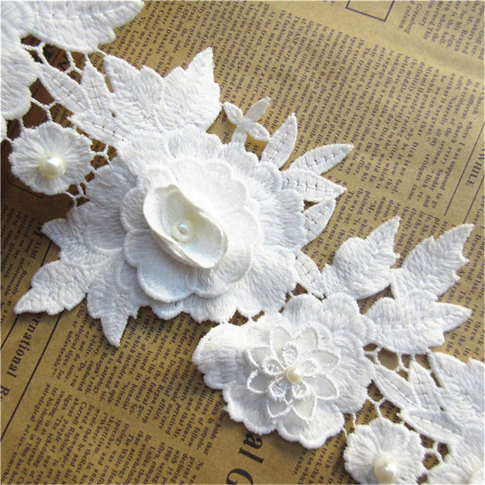 5pcs Flower with Pearl Beads Cotton Crochet Floral Lace Ribbon Trim Edge 16×13cm/ 4.3×5.1inches Wide Vintage Style White Edging Trimmings Fabric Embroidered Applique Sewing Craft Wedding Dress Qiuda