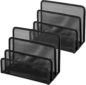 Desk Mail Organizer Small File Letter Holder Metal Mesh Desktop Storage for Home or Office Desk (2 Pack Black)