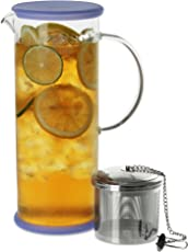 FORLIFE Lucent Glass Iced Tea Jug with Capsule Infuser 48 ounces