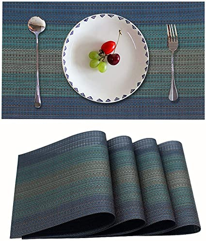Candumy Blue Placemat Table Mats Vinyl PVC for Kitchen and Dining Set of 4, Heat Stain and High Temperature Resistant Anti-Skid Washable Non-Slip Insulation Crossweave Woven Textilene(4 PCS,Blue)