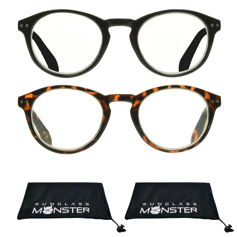 1e782ec1d5b8 Amazon.com  Multifocal Progressive Computer Reading Glasses No Line with  Round Horn Rimmed Plastic Frame for Men   Women  Health   Personal Care