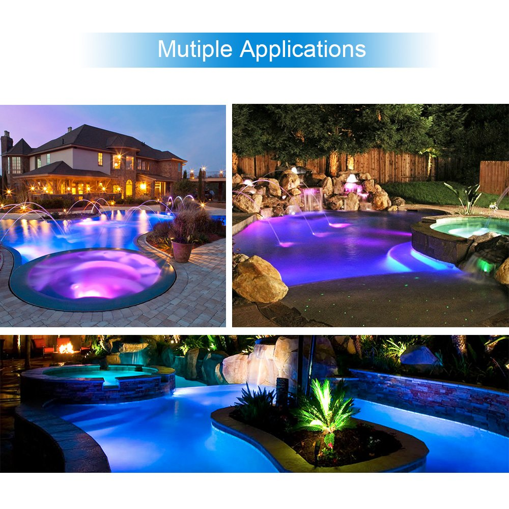 LAMPAOUS LED Pool Lights Bulb, RGB Muliti Color LED Swimming Pool Lights, E26 Base Par56 Under Water Lights Replacement Bulb 120VAC 35 Watt ... by LAMPAOUS