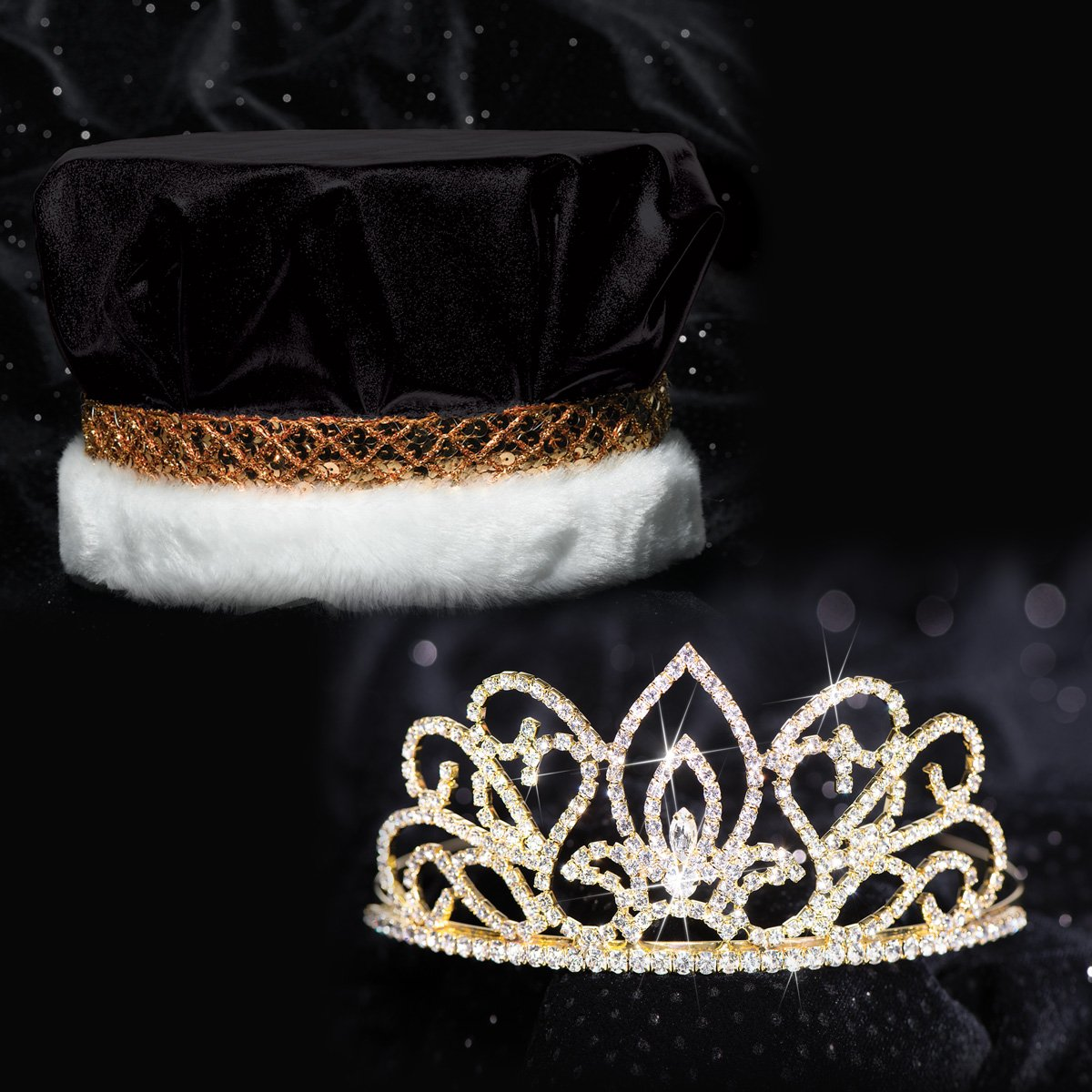 Golden Coronation Set, 2 1/4 inches High Gold Adele Tiara and Metallic Black Crown with Gold Braid, White Fur