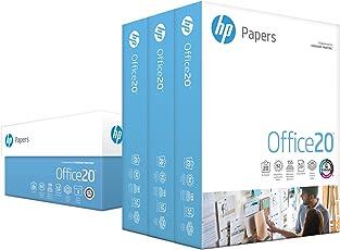HP Paper, Oficina Ultra White, 20lb, 8.5x 11, 92brillante, 1500hojas/resma) 3Caso, CIE Blancura 155, fabricado en EE. UU.