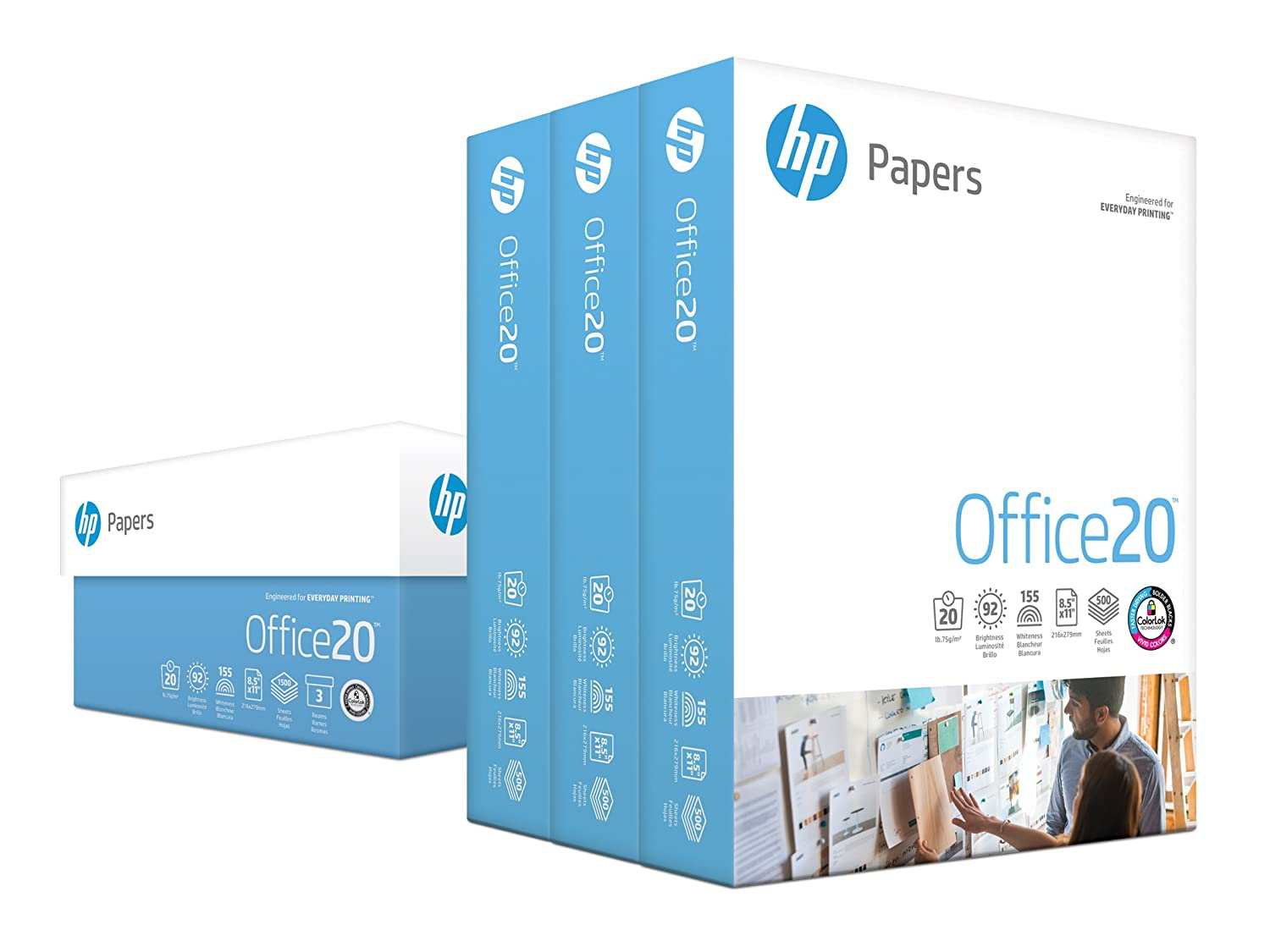 HP Printer Paper, Office20 Paper, 8.5 x 11, Letter Size, 20lb, 92 Bright, 3 Ream Case / 1,500 Sheets (112090C) Acid Free Paper