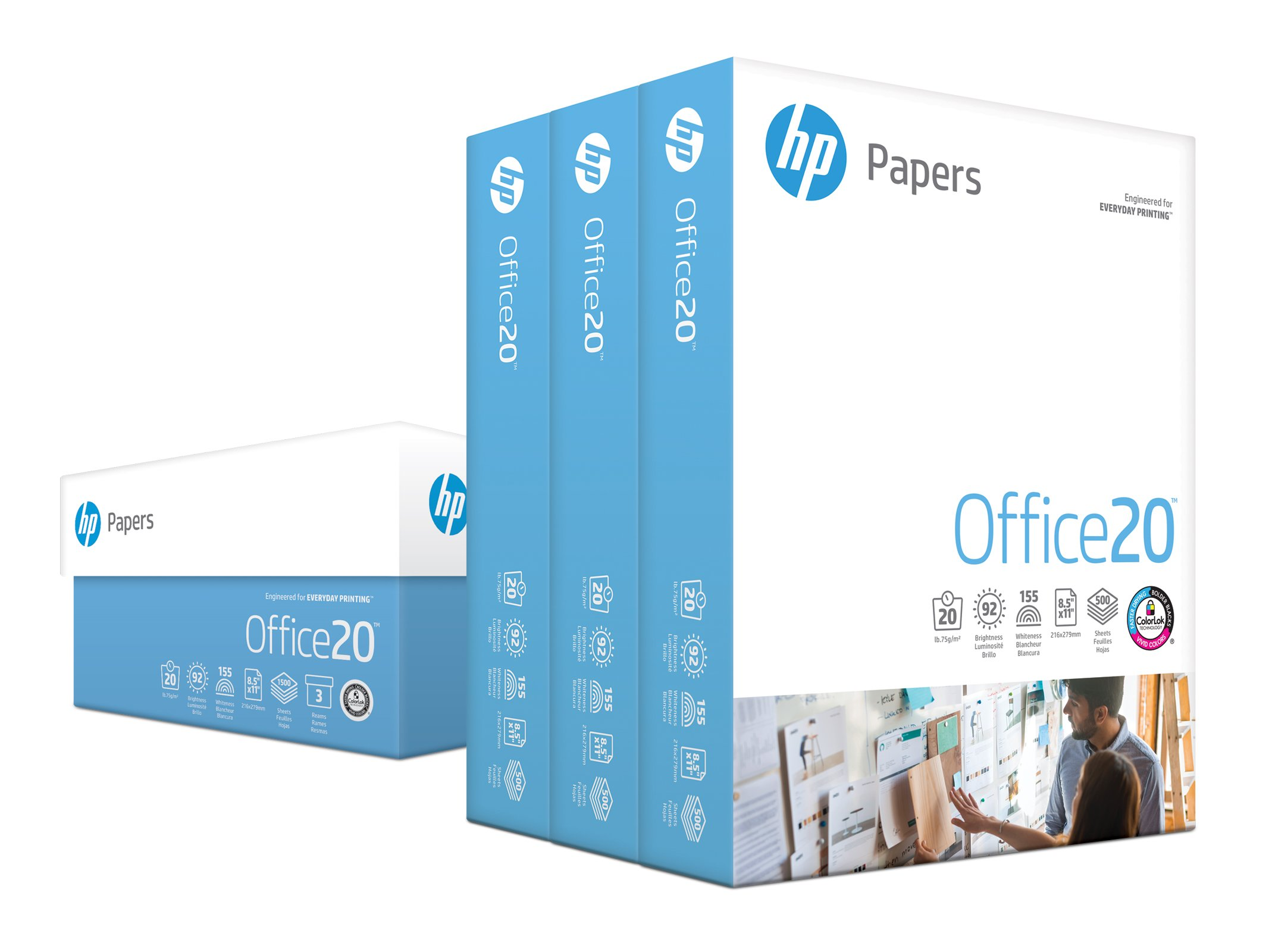 HP Printer Paper, Office20 Paper, 8.5 x 11 Paper, Letter Size, 92 Bright - 3 Ream / 1,500 Sheets (112090C) by HP Paper