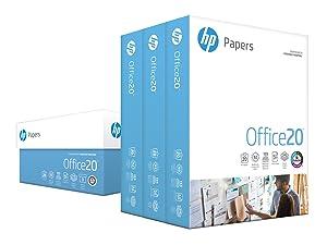 HP Printer Paper, Office20 Paper, 8.5 x 11 Paper, Letter Size, 20lb Paper, 92 Bright, 3 Ream Case / 1,500 Sheets (112090C) Acid Free Paper