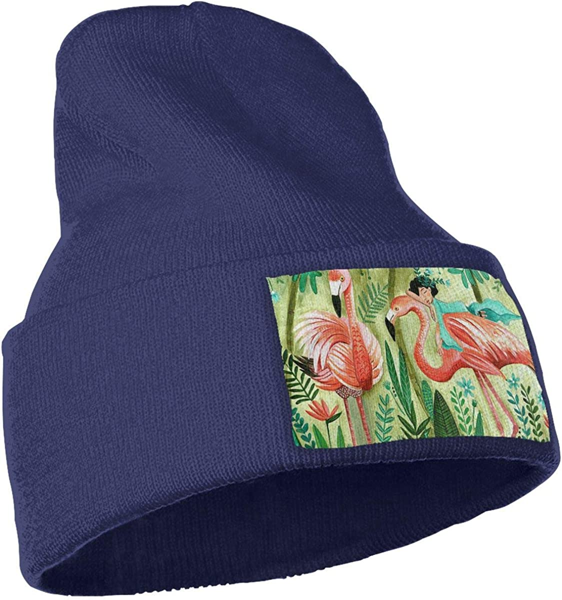 Jungle Flamingo Hat for Men and Women Winter Warm Hats Knit Slouchy Thick Skull Cap Black