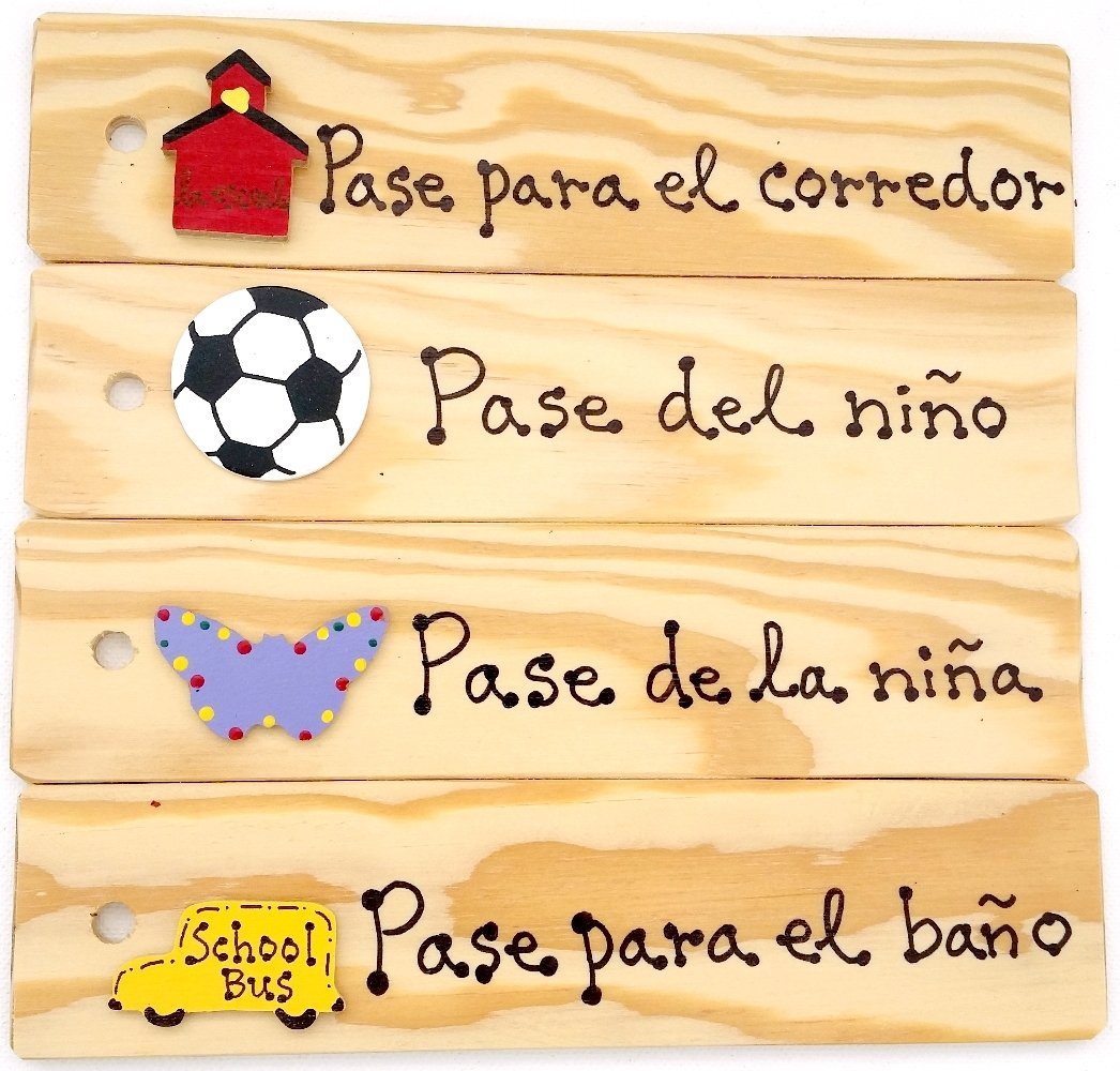 Spanish Passes - AA-911 SPSET4 Set of 4(Hall, Bathroom, Boy's & Girl's) Made in USA - 8''x2'' Wooden Pass w/Hang Loop.