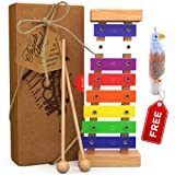 Wooden Xylophone for Kids: Best Perfectly Sized Musical Toy for Toddlers - With Clear Sounding Metal Keys, Two Child-Safe Wooden Mallets and a Free Eagle Whistle for Music-Making Fun
