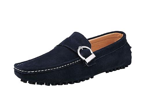 Icegrey Hombre Mocasines Zapatos De Cuero De Los Hombres del Mocasín con Hebilla Conducir Zapatos: Amazon.es: Zapatos y complementos