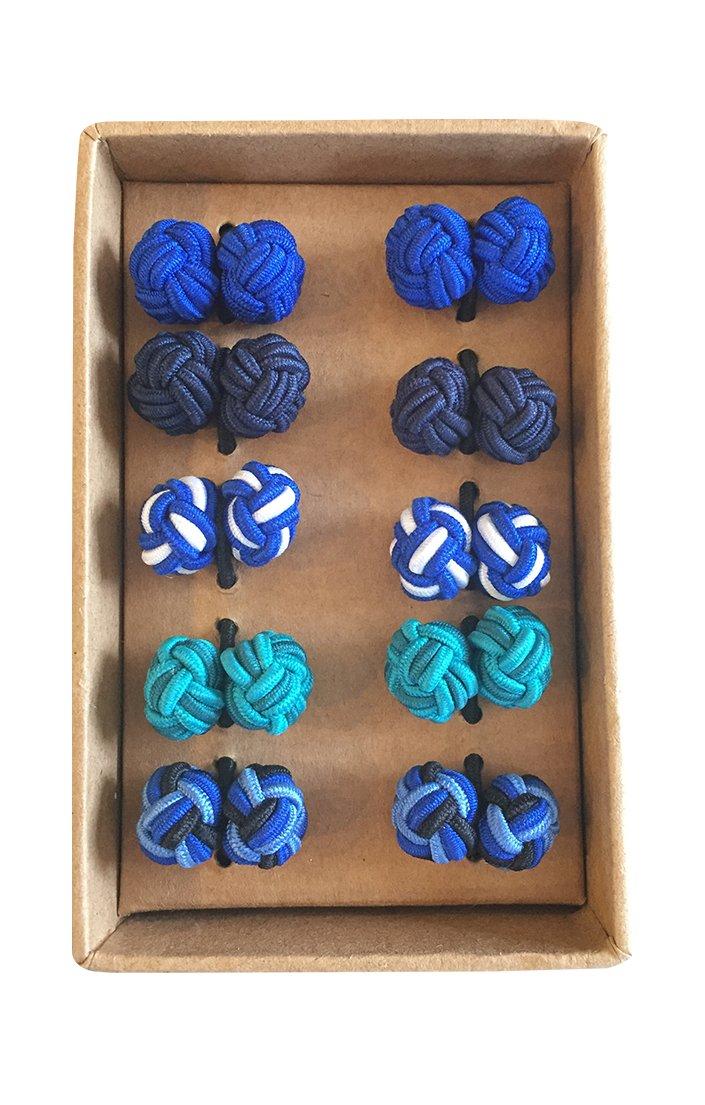 Rammentare Silk Knot Cufflinks - Gift set 5 pairs - Mixed Blue