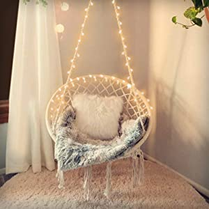 SURPCOS Hammock Chair with Lights and Durable Hanging Hardware Kit, Exquisite Round Hanging Chair, 100% Cotton Rope Macrame Swing Chairs for Indoor/Outdoor Bedroom Patio or Garden, Max 550LBs, Beige